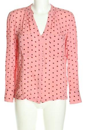 Mango Langarm-Bluse pink-schwarz Allover-Druck Casual-Look