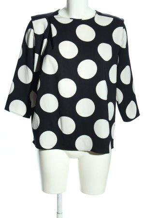 Mango Langarm-Bluse schwarz-weiß Punktemuster Casual-Look