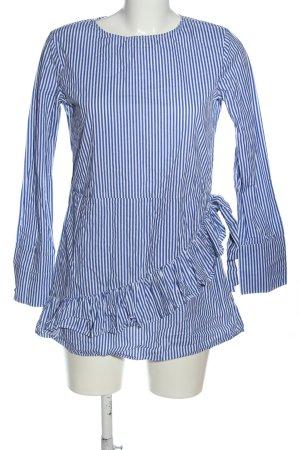 Mango Langarm-Bluse blau-weiß Streifenmuster Casual-Look