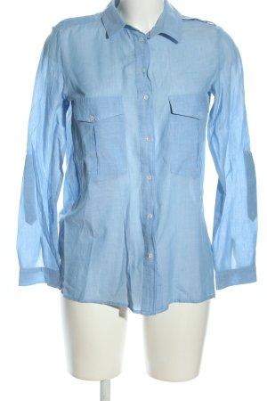 Mango Langarm-Bluse blau Business-Look