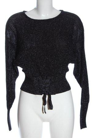 Mango Langarm-Bluse schwarz-silberfarben meliert Casual-Look