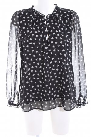 Mango Langarm-Bluse schwarz-weiß Allover-Druck Casual-Look