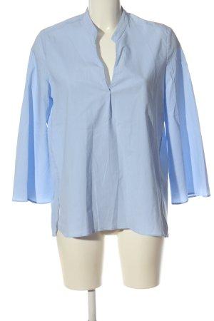 Mango Langarm-Bluse blau-weiß Allover-Druck Business-Look