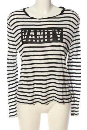 Mango Langarm-Bluse weiß-schwarz Streifenmuster Casual-Look