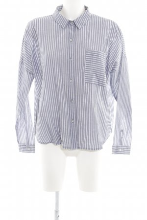 Mango Langarm-Bluse graublau-weiß Streifenmuster klassischer Stil