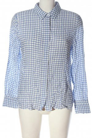 Mango Langarmhemd blau-weiß Karomuster Casual-Look