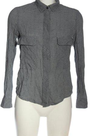 Mango Langarmhemd schwarz-weiß Allover-Druck Elegant