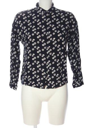 Mango Langarmhemd schwarz-weiß Allover-Druck Casual-Look