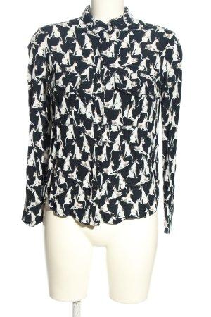 Mango Chemise à manches longues noir-blanc imprimé allover style décontracté