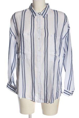Mango Langarmhemd weiß-blau Streifenmuster Business-Look