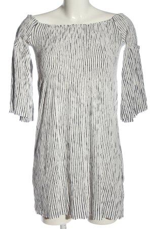 Mango Langarmkleid weiß-schwarz Streifenmuster Casual-Look