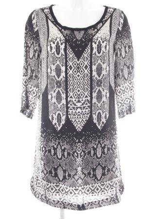 Mango Langarmkleid schwarz-weiß Motivdruck Elegant