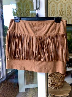 Mango Premium Fringed Skirt multicolored