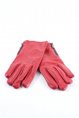 Mango Leather Gloves red casual look
