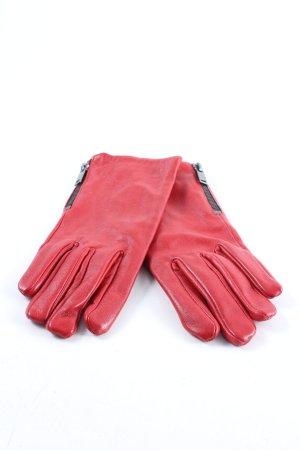 Mango Rękawiczki skórzane czerwony W stylu casual
