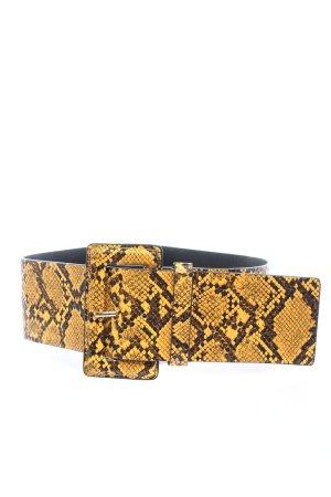 Mango Cinturón de cuero de imitación amarillo pálido-negro look casual