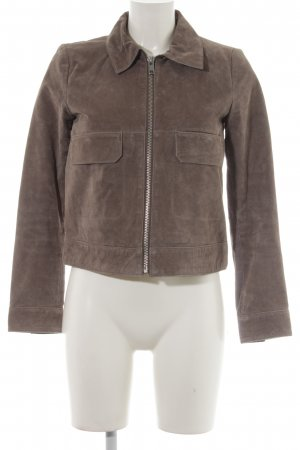 Mango Leather Jacket grey brown casual look