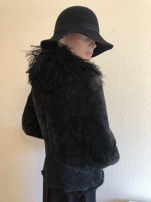 Mango Lederjacke Leder schwarz  Retro Style Fellkragen 34 XS