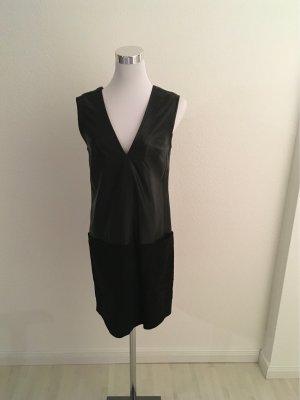 Mango Leren jurk zwart Leer