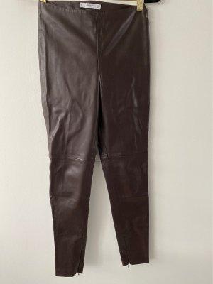 Mango Pantalon en cuir brun foncé