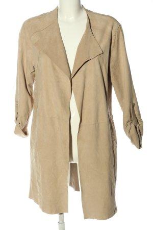 Mango Manteau en cuir blanc cassé style décontracté