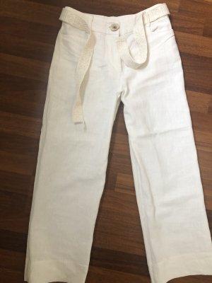 Mango Pantalon en lin blanc cassé
