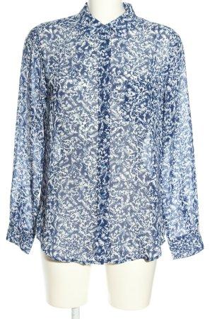 Mango Long-Bluse blau-weiß abstraktes Muster Casual-Look