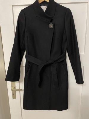 Mango Wełniany płaszcz czarny