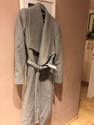 Mango Abrigo de lana gris claro