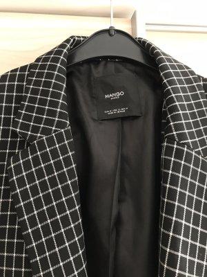 Mango Krótki płaszcz czarny-biały