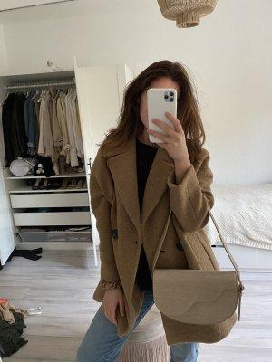 Mango Cappotto in pelle marrone-marrone chiaro