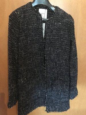 Mango Chaqueta de lana azul oscuro-color plata