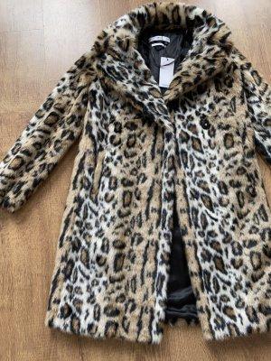 Mango Mantel Jacke Leo Fell Fake Fur Braun Schwarz XS 34 Neu mit Etikett