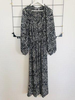 Mango Maxikleid Maxi langes Kleid schwarz weiß Muster lang