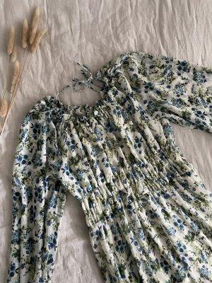 Mango Robe longue blanc-bleu