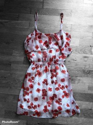 Mango Mididress Sommerkleid Weiß Klatschmohn XS 34