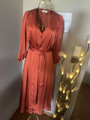 Mango Sukienka midi ciemny pomarańcz-rudy