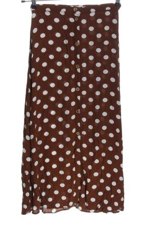 Mango Spódnica midi brązowy-biały Wzór w kropki W stylu casual