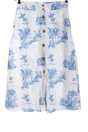 Mango Spódnica midi biały-niebieski Na całej powierzchni W stylu casual