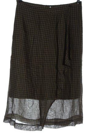 Mango Spódnica midi khaki-czarny Na całej powierzchni W stylu casual