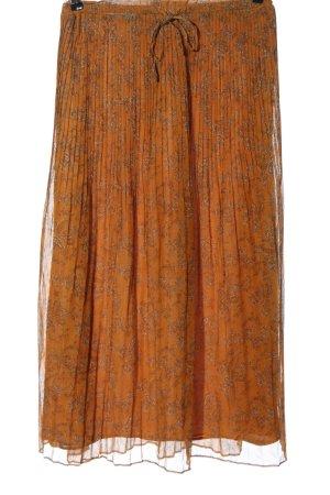 Mango Spódnica midi jasny pomarańczowy Abstrakcyjny wzór Elegancki