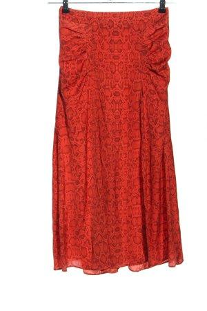 Mango Spódnica midi czerwony Zwierzęcy wzór Ekstrawagancki styl
