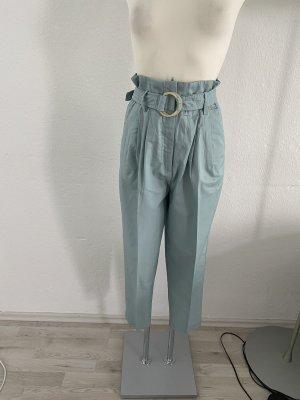 Mango Pantalon taille haute vert menthe-bleu clair