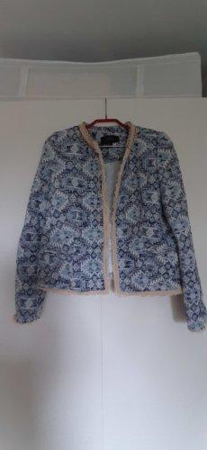 Mango MNG Collection cooler Statement Blazer offen Fransen Ethno Ikat blau creme beige Gr. L