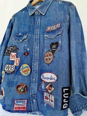 Mango MNG Damen langärmelige Denim jeans Bluse Jacke mit buntem Graffiti one size Einheitsgröße