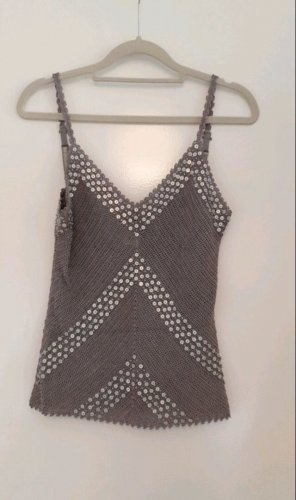 Mango Crochet Top grey-silver-colored