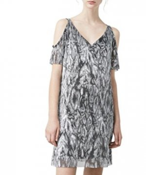 Mango Off-The-Shoulder Dress silver-colored-black
