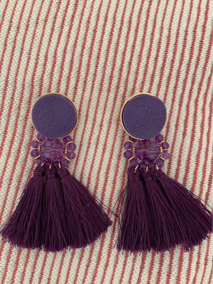 Mango Statement Earrings dark violet-gold-colored
