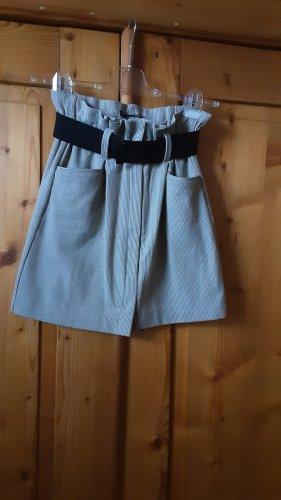Mango Suit Falda de lana beige claro-verde oliva