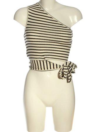 Mango One-Shoulder-Top creme-schwarz Streifenmuster Casual-Look